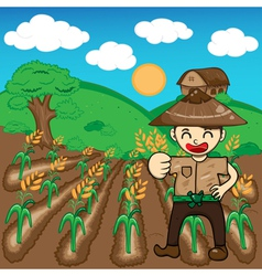 Farmer and rice a harvest cartoon vector