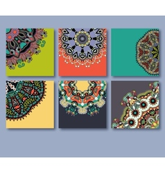 Collection of decorative floral greeting cards vector