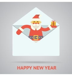 Santa claus with goftbox greeting card design vector