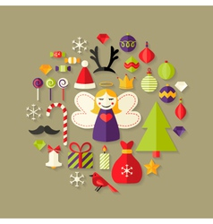 Christmas flat icons set over light brown vector
