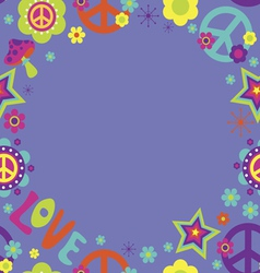 Frame with psychedelic elements vector