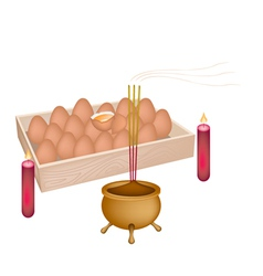 Red candle and joss stick with incense burner vector