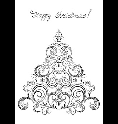 Black christmas tree with snowflakes vector
