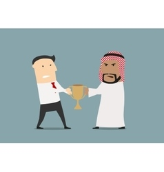 Businessmen fighting over a golden trophy cup vector