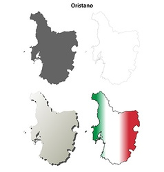 Oristano blank detailed outline map set vector
