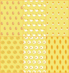 Seamless pattern of chicken and egg dishes vector