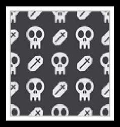 Halloween skull and tomb seamless pattern vector