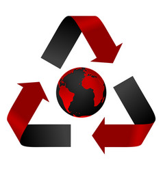 Abstract pollution threat recycle logo and globe vector image