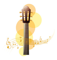 acoustic guitar with music notes in background vector image