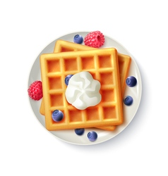 Breakfast waffles realistic top view image vector