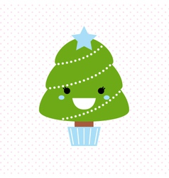 Cute christmas tree isolated on dotted background vector