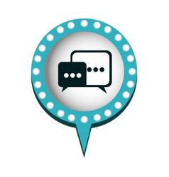 Dialogue in circular speech with blue contour with vector