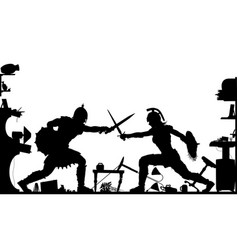 domestic gladiators silhouette vector image vector image
