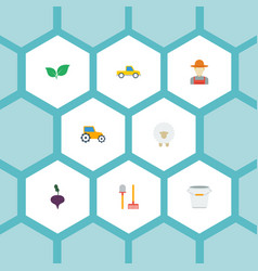 flat icons lamb grower rake and other vector image vector image