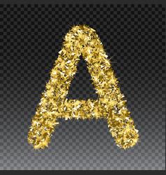 Gold glittering letter a shining golden vector