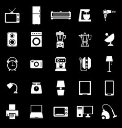 Household icons on black background vector