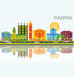 Parma skyline with color buildings blue sky and vector