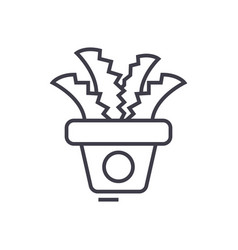 plant in the potoffice cactus line icon vector image vector image