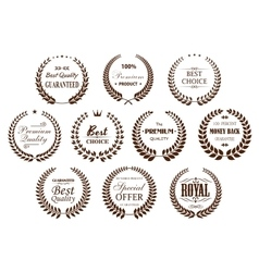 Quality guarantee icons with brown laurel wreaths vector