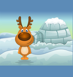 reindeer in winter vector image vector image