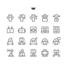Robots pixel perfect well-crafted thin line vector