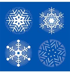 Set of white decorative snowflakes vector