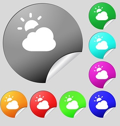 weather icon sign Set of eight multi-colored round vector image