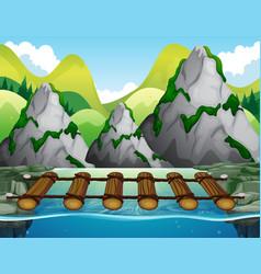 wooden bridge across the river vector image vector image