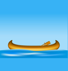 Wooden canoe with paddles floating on water vector