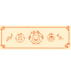 Woodland animals icon set characters bear vector