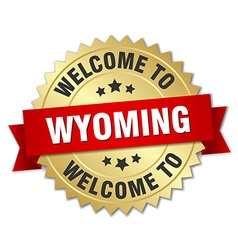 Wyoming 3d gold badge with red ribbon vector
