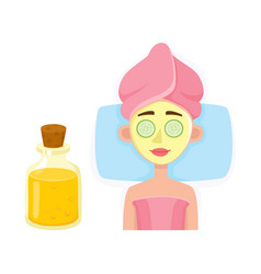 Young woman getting cosmetic facial mask in spa vector