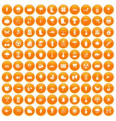 100 garden stuff icons set orange vector