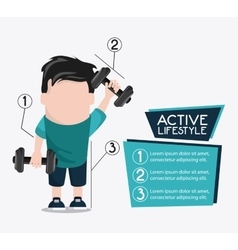 Boy weight lifting healthy lifestyle design vector