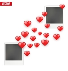 Photo frame lovers with valentines hearts sent vector
