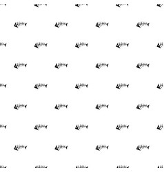 Pattern with black fish bones vector