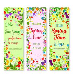 Banners set for spring time greetings vector