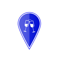 Blue map pointer with wine glasses vector