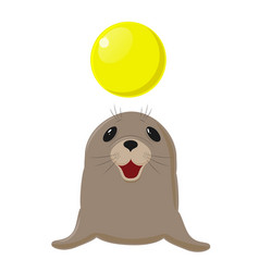 Fur seal sea dog plays with a yellow ball vector