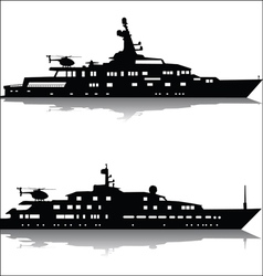 Large yachts with helicopters vector