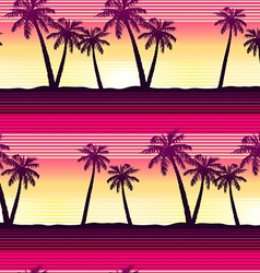 Tropical palms at sunset seamless pattern vector