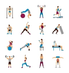 Strength training workout set vector