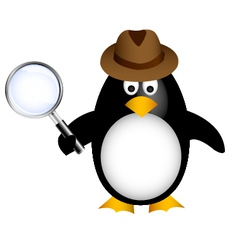 Detective penguin with magnifying vector