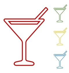 Coctail set of line icons vector