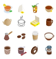 Tea and coffee icons set vector