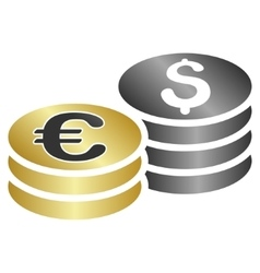 Dollar euro coins gradient icon vector