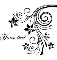 Black and white floral design vector