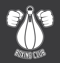 Boxing club emblem - fists and punching bag vector