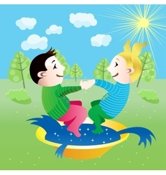 Boy and girl splashing in basin vector