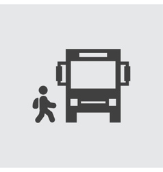 Bus and child icon vector